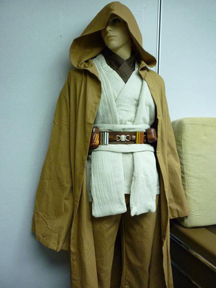 Image 1 & DELUXE FULL OBI Kenobi Costume jedi star wars tunic robe belt pouchs ...