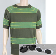 Kurt Cobain Sweater + Sunglasses Set Green Short Sleeve Costume Nirvana