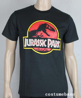 JURASSIC PARK T-shirt Costume logo movie Dinosaur Black