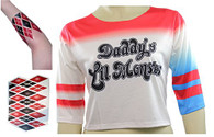 Harley Quinn T-shirt Daddy's Lil Monster with Arm Tattoo by costumebase