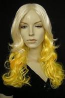 Lady Telephone Yellow Curly Blonde Wig Halloween Costume go gaga