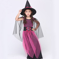 Girl Witch Halloween Costumes Dress and Hat