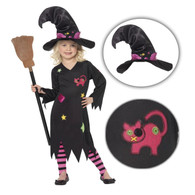 Kids Girls Cute Kitty Cat Magic Cinder Witch Halloween Costume with Hat