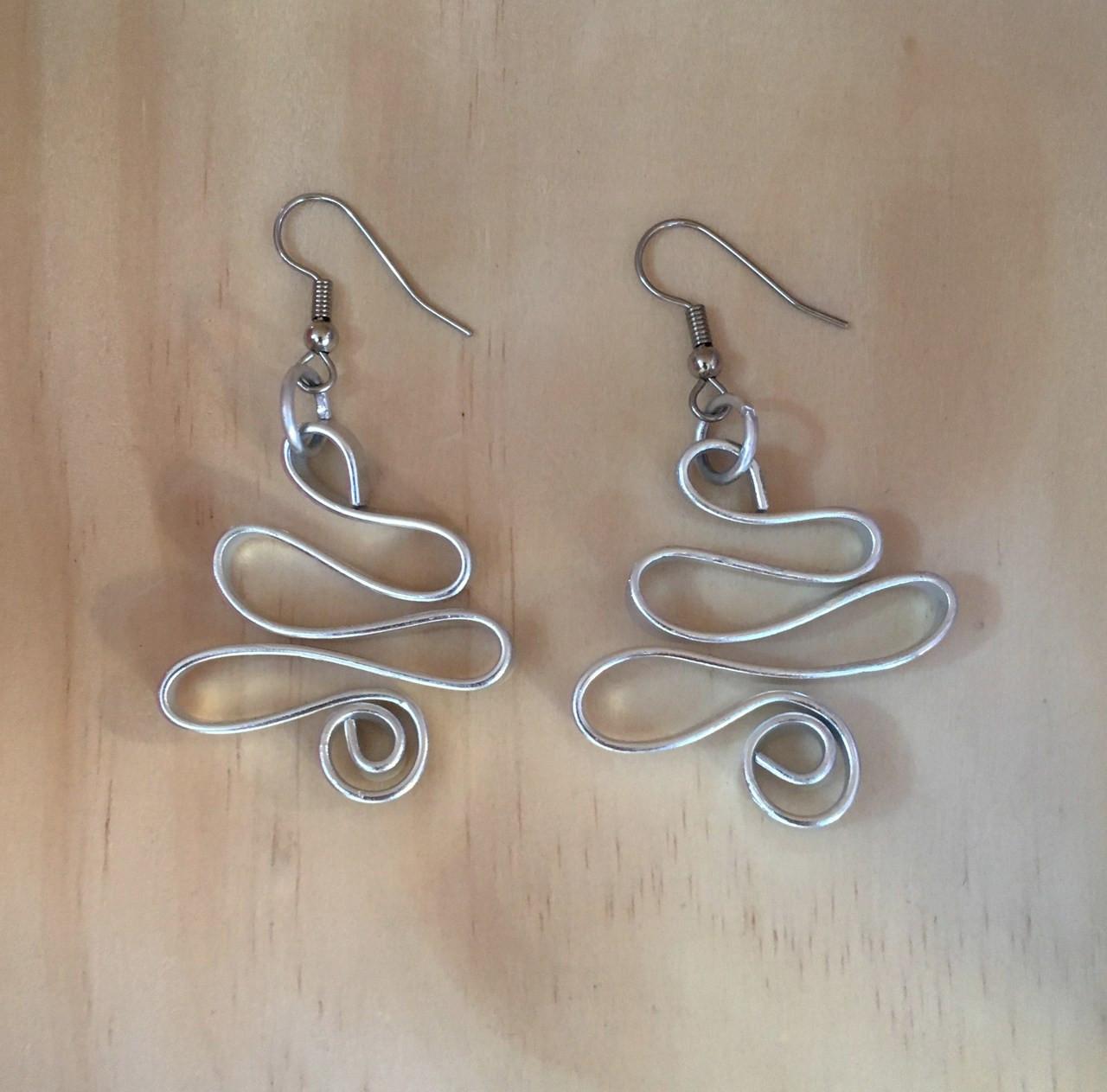 Silver Color Aluminum Earrings Zig Zag