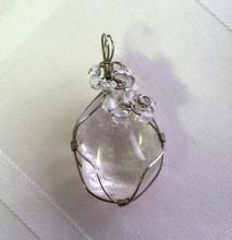 Crystal quartz polished stone wire wrapped pendant necklace crystal quartz polished stone wire wrapped pendant mozeypictures Choice Image