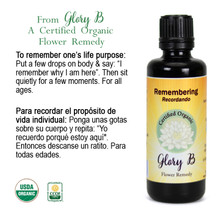 REMEMBERING Organic Flower Essence