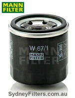 W67/1 MANN OIL FILTER [interchangeable with Z445, Z436, Z495, 119305-35150]