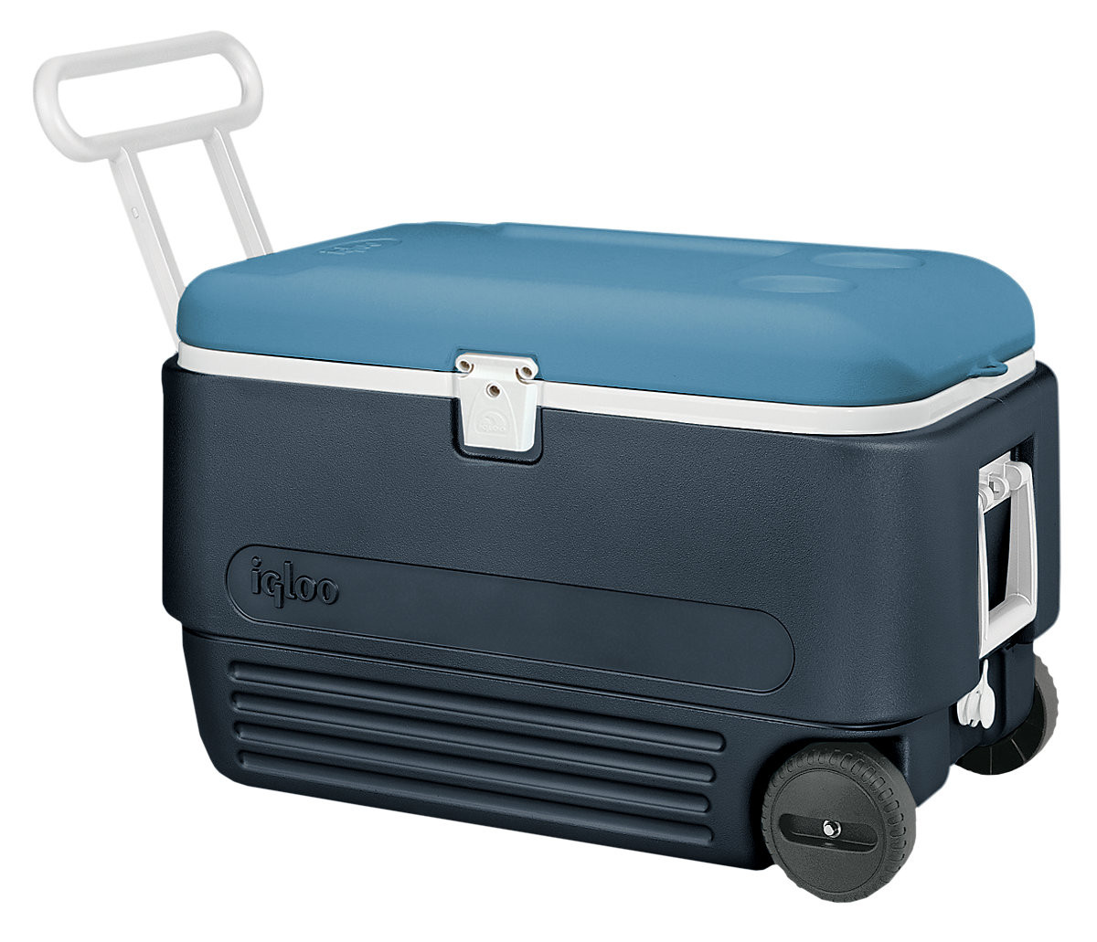 Igloo maxcold 60 quart 57 litres roller cooler wheeled ice for Motor cooler on wheels