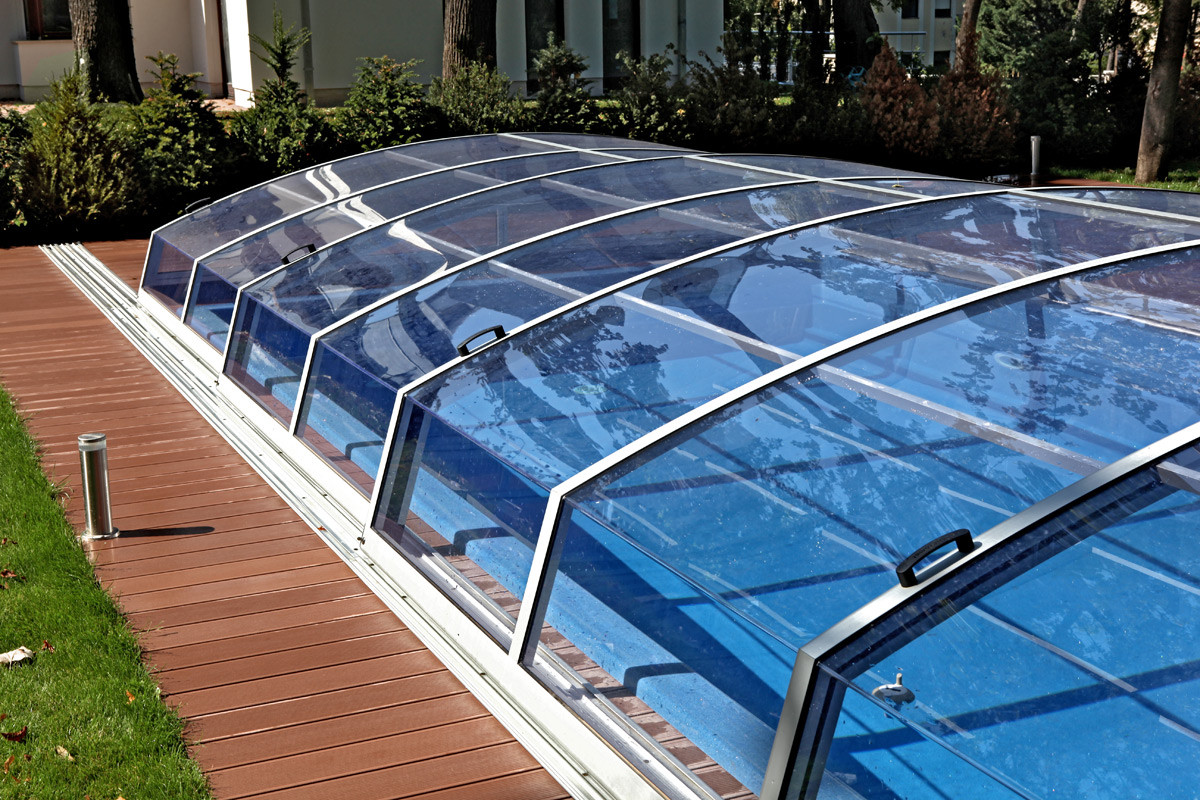 Visual low profile retractable telescopic swimming pool enclosure Retractable swimming pool enclosures