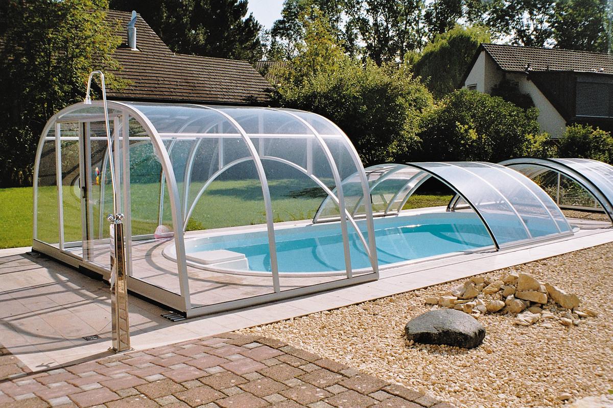 Lok raised front telescopic retractable swimming pool cover enclosure for Retractable swimming pool covers