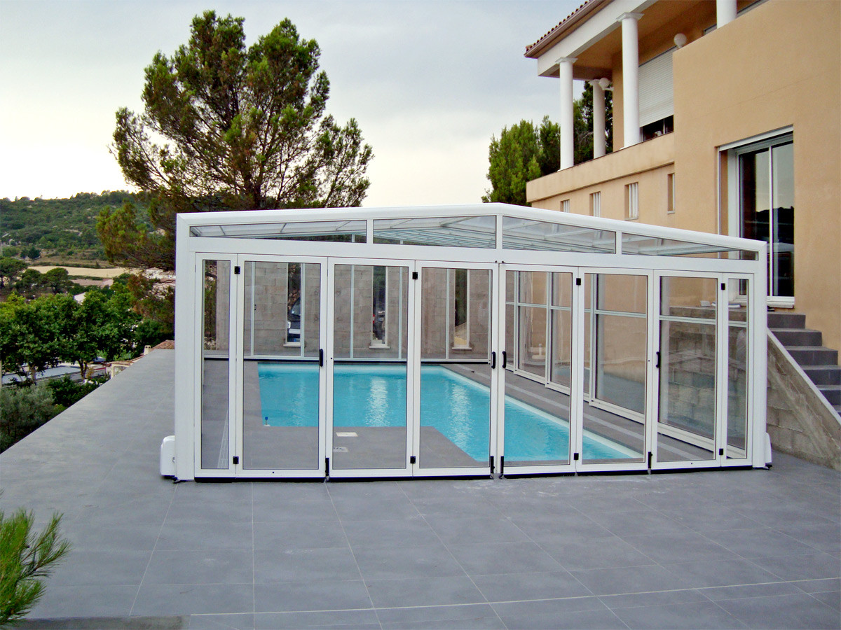 Orion wide and tall telescopic retractable swimming pool for Pool enclosure design software