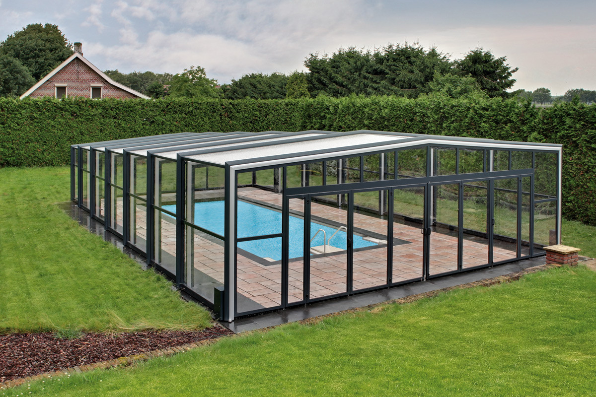 Orion wide and tall telescopic retractable swimming pool - Outdoor swimming pool enclosures uk ...