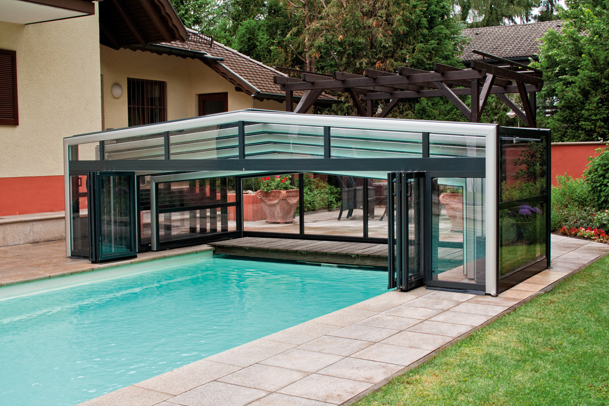 Orion wide and tall telescopic retractable swimming pool cover enclosure Retractable swimming pool enclosures