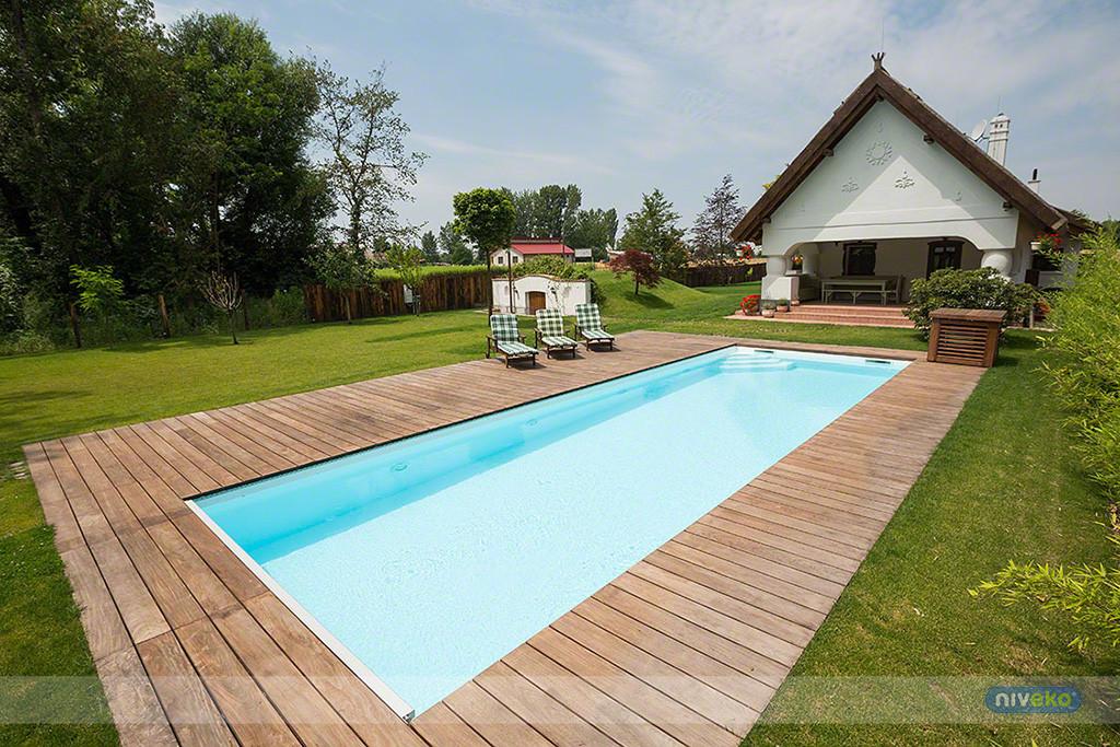 Niveko one piece swimming pools for Converting inground pool to garden