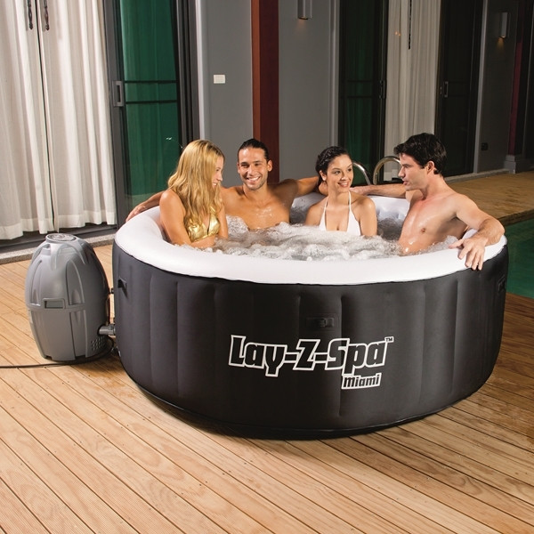 lay z spa miami inflatable 2 4 adult jacuzzi style portable hot tub. Black Bedroom Furniture Sets. Home Design Ideas