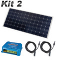 Caravan & Motorhome Solar Panel 15 amp Kit with MPPT Charge Controller, 2 x Single Core Cables and Solar Panel.