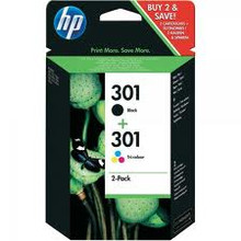HP 301 black and colour ink cartridges combo