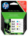Genuine original HP 364XL black ink cartridge plus HP 364 cyan magenta & yellow cartridges