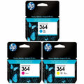 364 Genuine / Original Cyan, Magenta, Yellow Ink Cartridge 3 Pack for HP