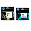 HP 21XL black HP 22 tri colour inkjet cartridges combo multi pack