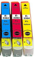 Compatible 33XL cyan magenta yellow pack high capacity cartridges non OEM but print great in Epson printer