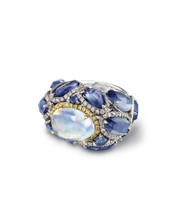 Moonstone & Sapphire Dome Ring