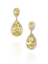 Golden Beryl & Diamond Earring