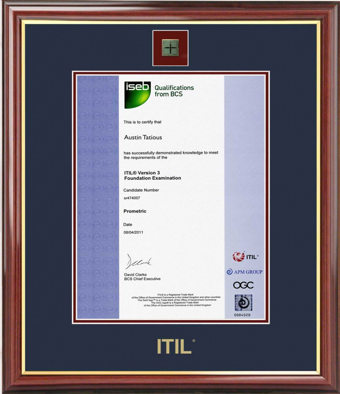 Itil 174 Certificate Frame Mahogany With Navy Mat Amp Lapel Pin