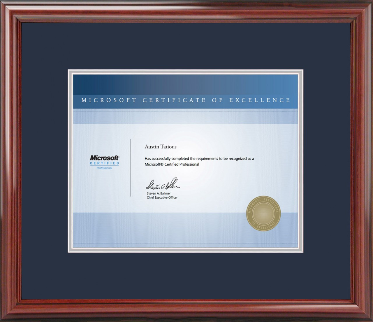 Microsoft 174 Certificate Frame Cherry With Navy Mat