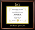 Six Sigma Yellow Belt Certificate Frame Mahogany with Black Mat