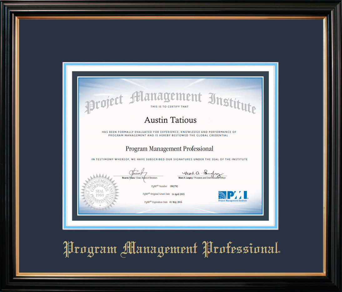 PgMP® Certificate Frame Black with Navy Mat - Certificate Specialties