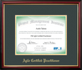 PMI-ACP® Certificate Frame Mahogany with Green Mat