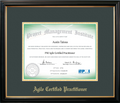 PMI-ACP® Certificate Frame Black with Green Mat