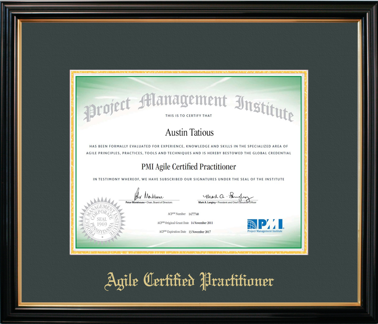 Pmi Acp 174 Certificate Frame Black With Green Mat