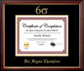 Six Sigma Champion Certificate Frame Mahogany with Black Mat