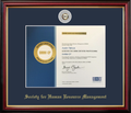 Society For Human Resource Management Frame Mahogany with Navy Mat & Grey Lapel Pin Opening