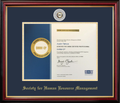 Society For Human Resource Management Frame Mahogany with Navy Mat & Fog Lapel Pin Opening