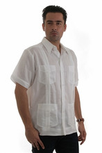 4 POCKET LINEN/COTTON GUAYABERA SHORT SLEEVE SHIRT ,55% LINEN & 45% COTTON.