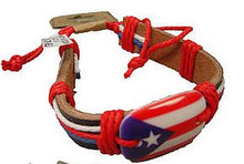 YG-1683PR. PUERTO RICO FLAG LEATHER BRACELET