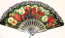 •Beautiful folding fan •Great for keeping cool, folds into small space •Decorated with lace around edge FLOWER FAN # 1