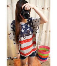 2014 Fashion Style Women's Girl Bat Sleeve Loose T-shirt United States Flag Pattern