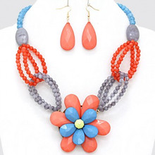 "• Style No : [226620] FN1752-GL-MUL-20"" + 3""L  • Color : Gold / Blue / Grey / Red Coral  • Necklace Size : 20"" + 3"" L  • Charm Size : 3"" L  • Earring Size : 2 1/4"" L  • Faceted Resin Enamel Flower Necklace"