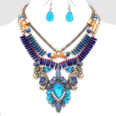 """• Style No : [247259] FN809-RG-BL-GY-18"""" + 3""""L  • Color : Russian Gold / Blue Zircon / Blue / Gray / Orange / Clear  • Necklace Size : 18"""" + 3"""" L  • Charm Size : 4"""" L  • Earring Size : 1 1/2"""" L  • Victorian Collar Necklace  • Material : Lead compliant"""