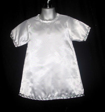 White satin fabric robes 100% polyester angels adorned with silver ribbon sleeve and hem. only size  1 -2 years & 4 years.