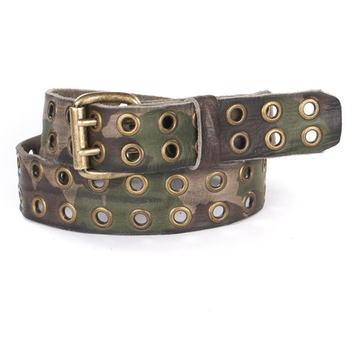 Santiago Leather Camo Belt in Olive Camouflage