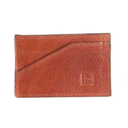 Leather Card Sleeve in Cognac