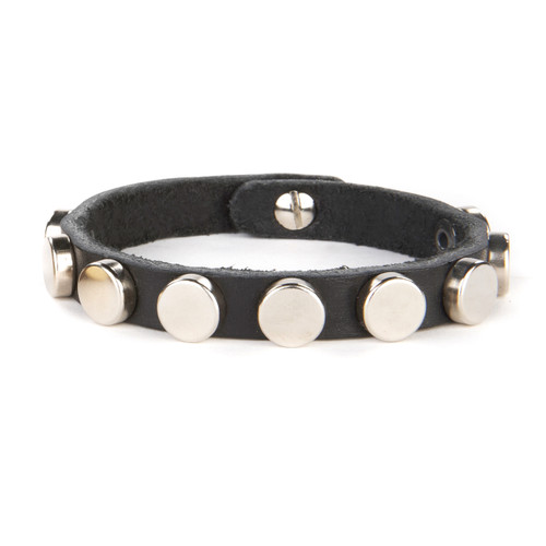 Mioley studded leather cuff in Black