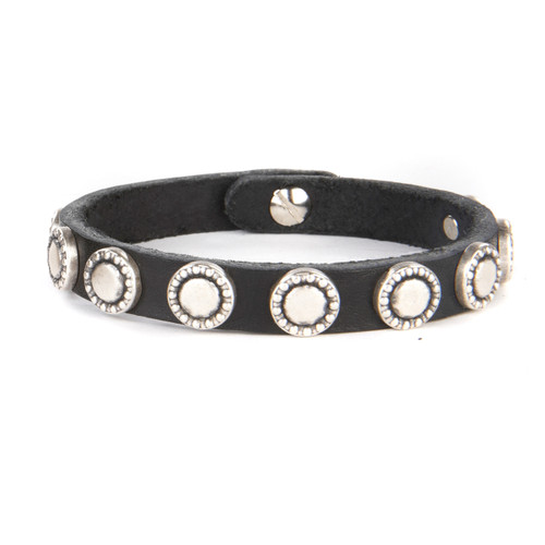 Cinz studded leather cuff in Black