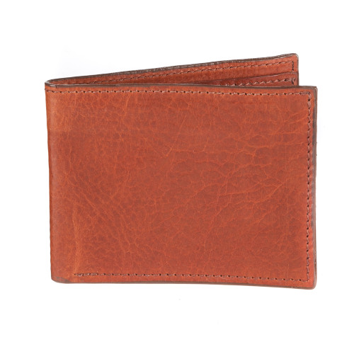 Leather note sleeve/wallet in cognac
