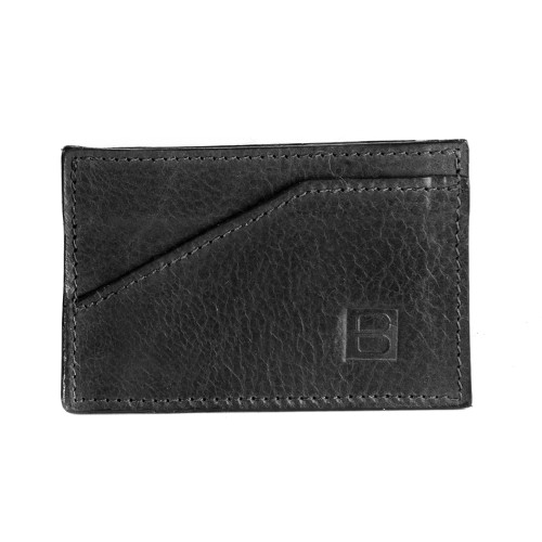 Leather Card Sleeve in Black
